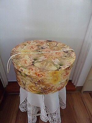 "Round Hat Box -Yellow Roses~16""~Carry Cord~VGUC~Vintage~"
