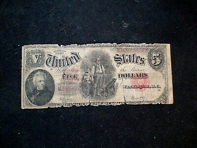 1907 Five Dollar WOODCHOPPER Well Circulated NOTE $5 BILL Starts at 99 Cents!!
