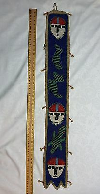 Blue Yoruba Tribe Nigeria African Beaded Wall Hanging Panel Seed Beads & Shells