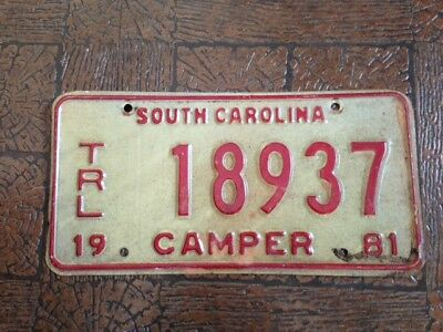 South Carolina  License Plate ~ 1981 ~ Trl  18937   Camper  Red on White