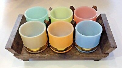 Vintage Retro 60's Pastels Siesta Ware Glass Mugs Cups Carrier, Farm Home