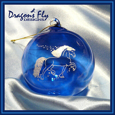Horse Ornament Cobalt Blue Glass Friesian Trot Christmas Tree Bulb Night Stars