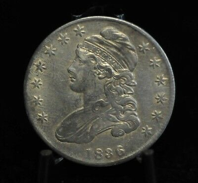 1836 Choice XF Lettered Edge Capped Bust Half Dollar [08DUD]