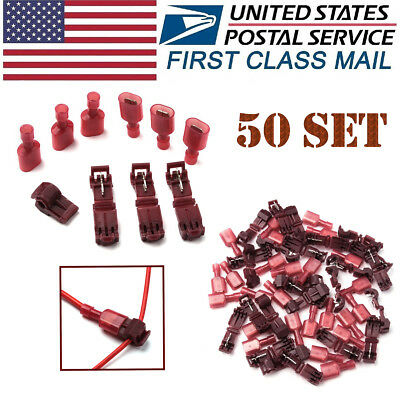 100X T-Taps Lock Quick Splice 22-18 AWG Insulated Wire Terminals Connectors Red