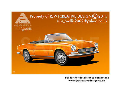 FIAT 124 Spider Poster Illustration