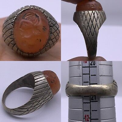 Agate king old face intaglio stone beautiful Silver mixed Ring