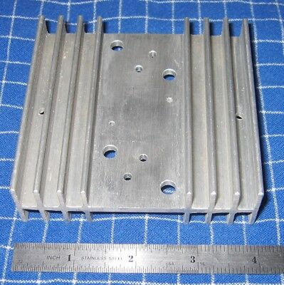 Aluminum Heat Sink Drilled for 2 TO-3 Devices 3.875 X 3.75 X 1.125 Inches