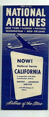 National Airlines System Timetable 1951 DC-6 on cover from RARE Collection