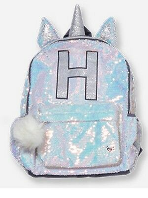 """NWT Justice Unicorn Flip Sequin Initial """"C""""Hooded Backpack Very Cute!!!"""