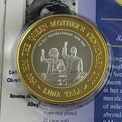 TOKELAU 2000 $5 LIMA TALA QUEEN MOTHER CENTENARY SILVER PROOF - coa/info sheet