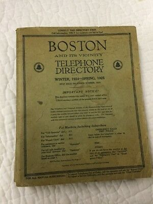 Vintage Bell System Boston Mass & Vicinity 1924 Telephone Directory Phone Book