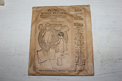 1928 Vintage McCALL Sewing Pattern Baby Clothes Doll Clothes size 6 months