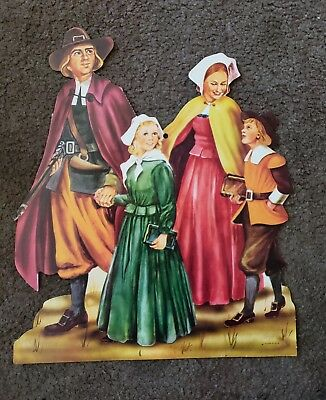 Vintage Thanksgiving Cardboard Decoration...Pilgrams
