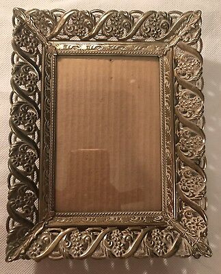 Vintage Ornate Picture Frame Used Red Velvet Backing 5X7