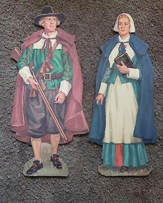 Vintage Thanksgiving Cardboard Decorations...Pilgrims
