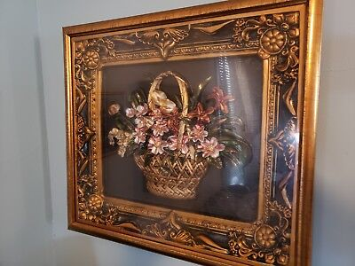 Old Picture 18 x 16 Vintage Antique Style Old Gold Bronze Ornate (no reserve)