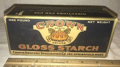 Antique Unopened Crown Gloss Starch Vintage Laundry Box Springfield Ma Old Soap