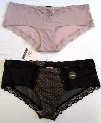 NEW 2 PACK LADIES SHORTS KNICKERS PANTIES MARKS /& SPENCER LIMITED LINGERIE BLACK