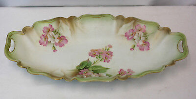 """Antique R S Prussia Celery Tray 12"""" x 6 1/2"""" Pink & White Flowers Scalloped Rare"""