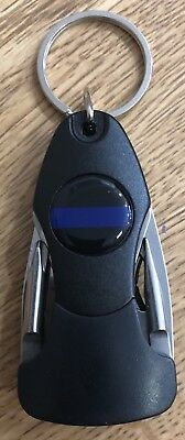 Thin Blue Line Police 5 in 1 Key Holder w Flashlight Knife and more.