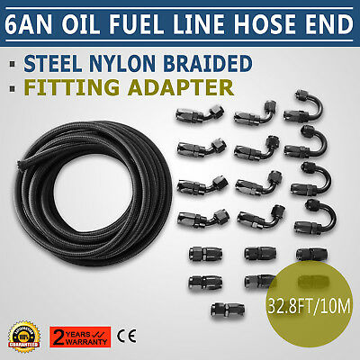 10M An6 Oil Fuel Line Hose End Fitting Kit Light Weight Au Stock Black Good