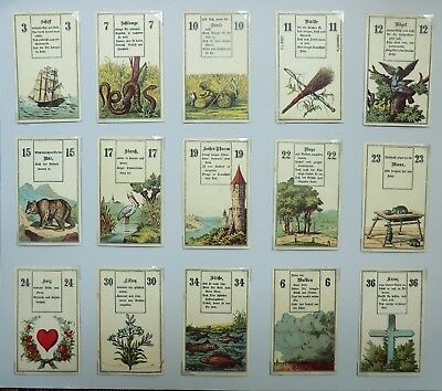 Lenormand style fortune telling cards by Wust, German, antique
