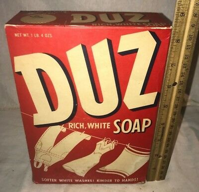 Antique Unopened Duz Laundry Soap Washing Detergent Box Vintage Clothing Grocery