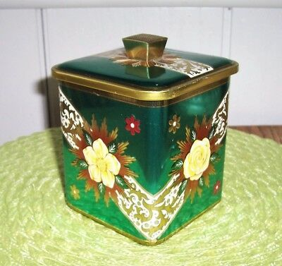 ART DECO Vtg *Gold Starburst* ART GRACE BARET WARE Biscuit TEA TIN England EX!