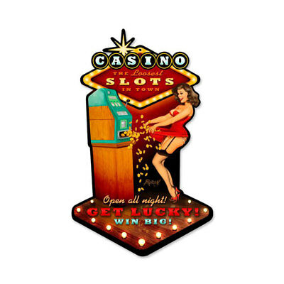VINTAGE STYLE METAL SIGN Casino Pinup 10 x 17