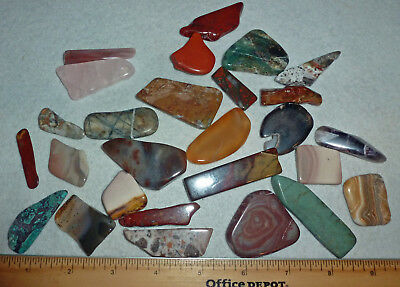 Polished Agates, Jaspers Flat stones for jewelry making; projects various shapes