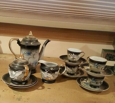 Vintage Japanese Dragon-ware Tea Set  Raised Dragons Set for 4