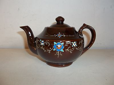 Vintage Hand Painted Floral Pattern Glazed Ceramic Porcelain Mini Teapot Japan