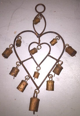 Vintage Copper Bells Wrought Iron Heart Wind Chime French Country