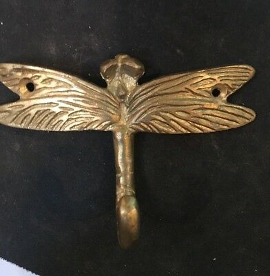 Dragonfly Hook Wall Brushed Solid Brass Towel Bathroom Decor Robe Coat Hat