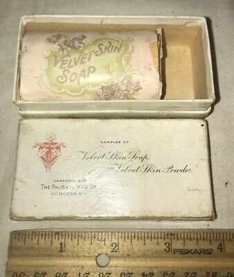 Antique Free Sample Unused Velvet Skin Soap Wrapper Box Palisade Yonkers Ny Old
