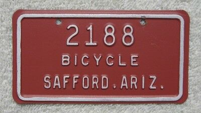 ARIZONA 1970 's Safford Bicycle # 2188 License Plate