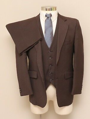 Vintage Mens 38S JcPenney Classic Styling 3 Piece Brown Pinstripe Suit