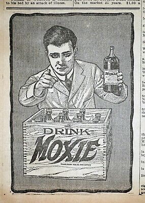Drink Moxie Ad - Moxie Wooden Crate - 1913 Massachusetts Newspaper Page