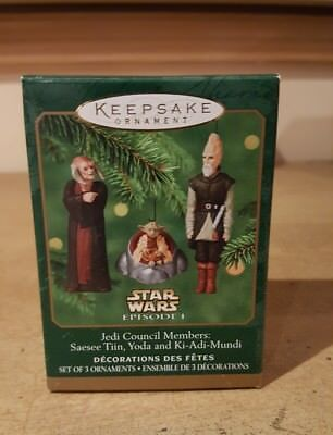 2000 Miniature Hallmark Ornament Star Wars Episode 1 Jedi Council Members