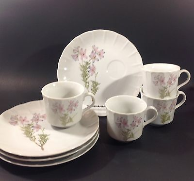 Vintage China Tea or Snack Sets Lima the Tuscany 4 Floral Cup and Plate Sets EUC