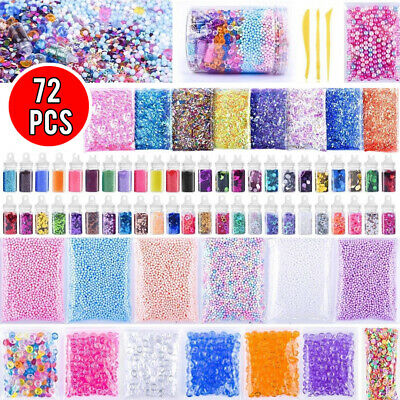 72 Pack Slime Supplies Kit Slime Stuff Charm Include Foam Balls Fishbowl Beads