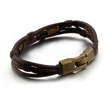 Men's Surfer Brown Leather Bracelet Wristband Braided Rope Bronze Buckle Wrap