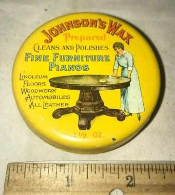 Antique Johnsons Wax Tin Litho Cleaner Can Car Auto Floor Woodwork Racine Wi Old