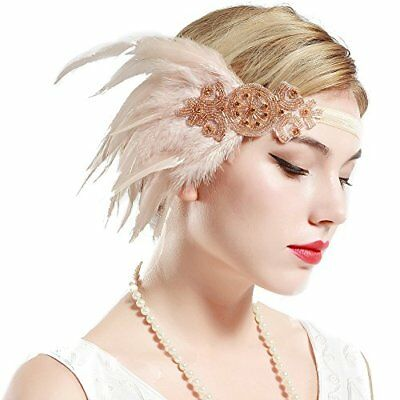 ArtiDeco 1920s Flapper Feather Headband 1920s Beaded Headpiece Great Gatsby Cost
