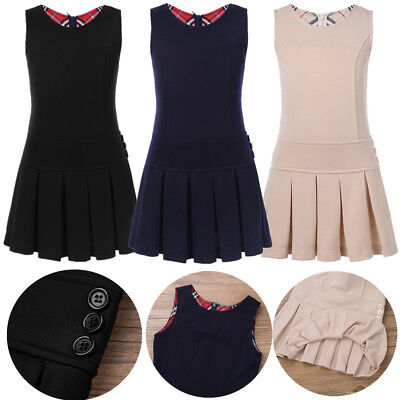 Girl Pleated Pinafore Dress Kids School Uniform Stretchy Party Jumper Dress 2-9Y