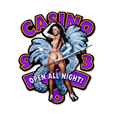 VINTAGE STYLE METAL SIGN Casino Pinup Clock 12 x 15.5