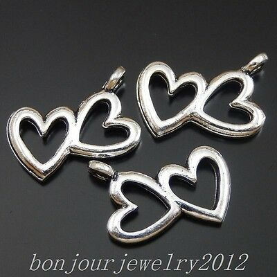 50398 Vintage Silver Alloy Heart Mate Shape Pendants Findings Charms Crafts 47x