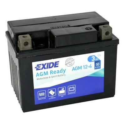 EXIDE AGM 12-4  YB4L-B Motorcycle Scooter Quad Battery - More Power Than Lithium