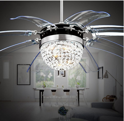 "42"" Crystal Ceiling Fan Light Take Off Invisible 8 Blade Remote Control Lamp"