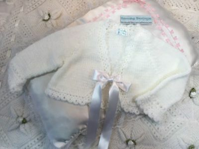 White Handmade Bolero Bow Cardigan 6-12 Month Baby/reborn By Hannahs Boutique